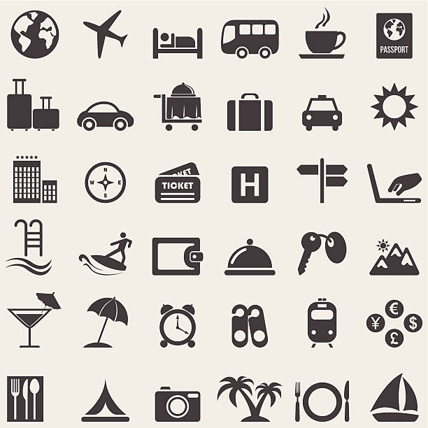 Travel complete icons set.Vector Travel complete icons set.Vector lakeshore stock illustrations