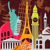 A travel composition of principal landmarks around the world