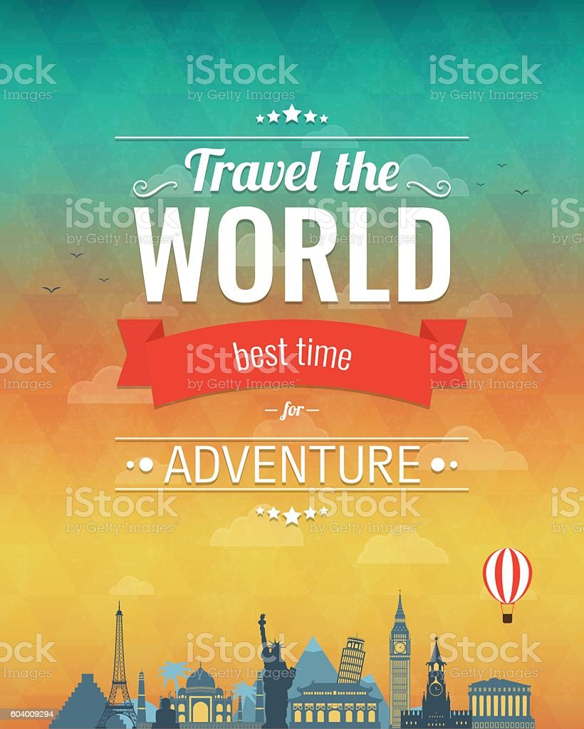 Travel composition with famous world landmarks and vintage badge. vector art illustration