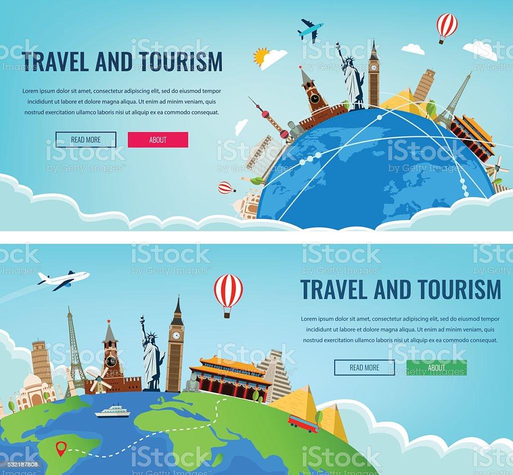 Viaje composición con famosas atracciones del mundo. Viajes y turismo. - ilustración de arte vectorial
