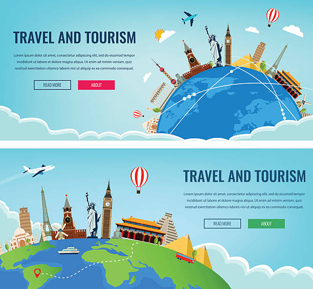 travel composition with famous world landmarks. travel and tourism. - travel destinations stock illustrations