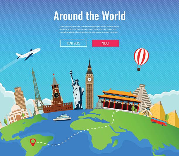 旅行の構成、世界的に有名なランドマークです。旅行と観光。 ベクターアートイラスト
