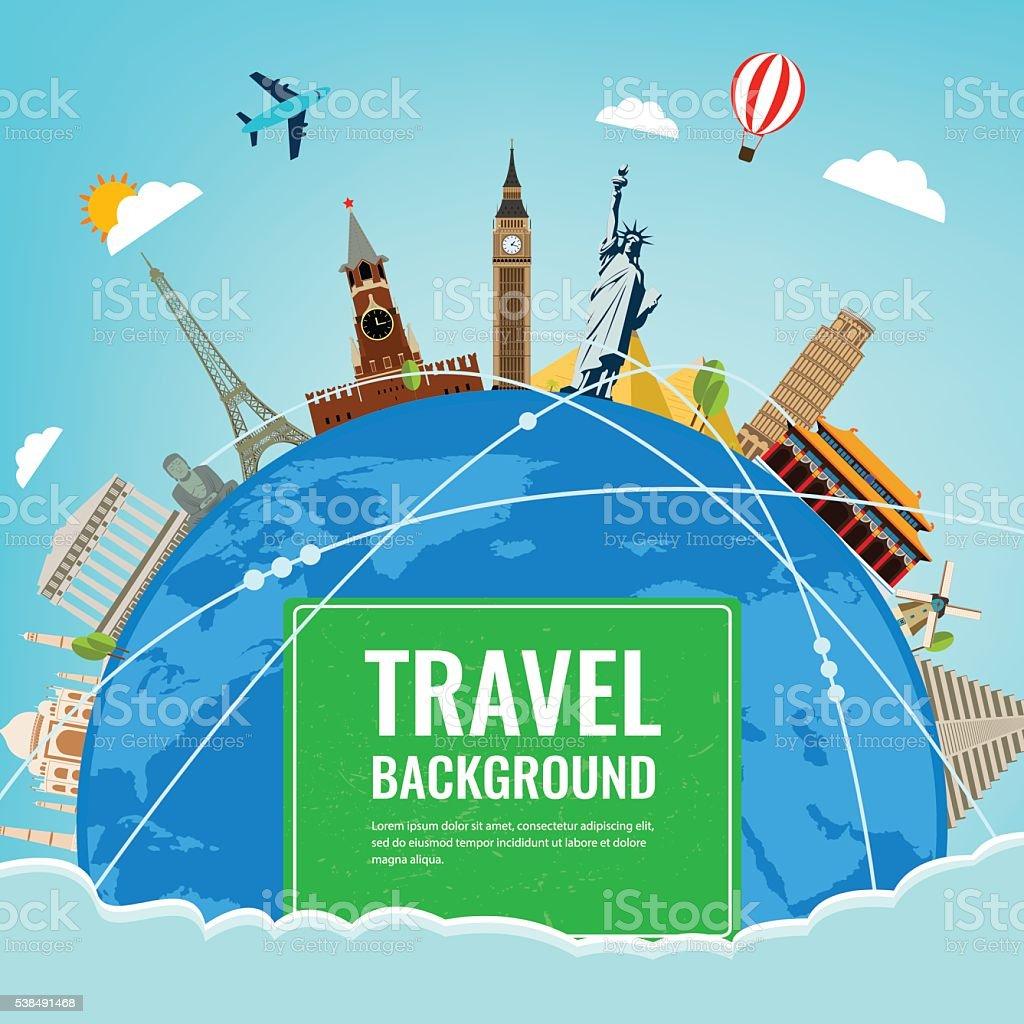 Travel composition with famous world landmarks. Travel and Tourism concept.