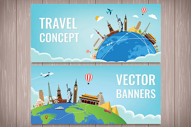 Travel composition with famous world landmarks. Travel and Tourism. vector art illustration