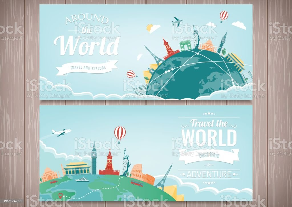 Travel composition with famous world landmarks. Travel and Tourism. Concept website template. Vector. Modern flat design vector art illustration