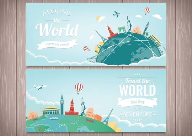 travel composition with famous world landmarks. travel and tourism. concept website template. vector. modern flat design - travel destinations stock illustrations