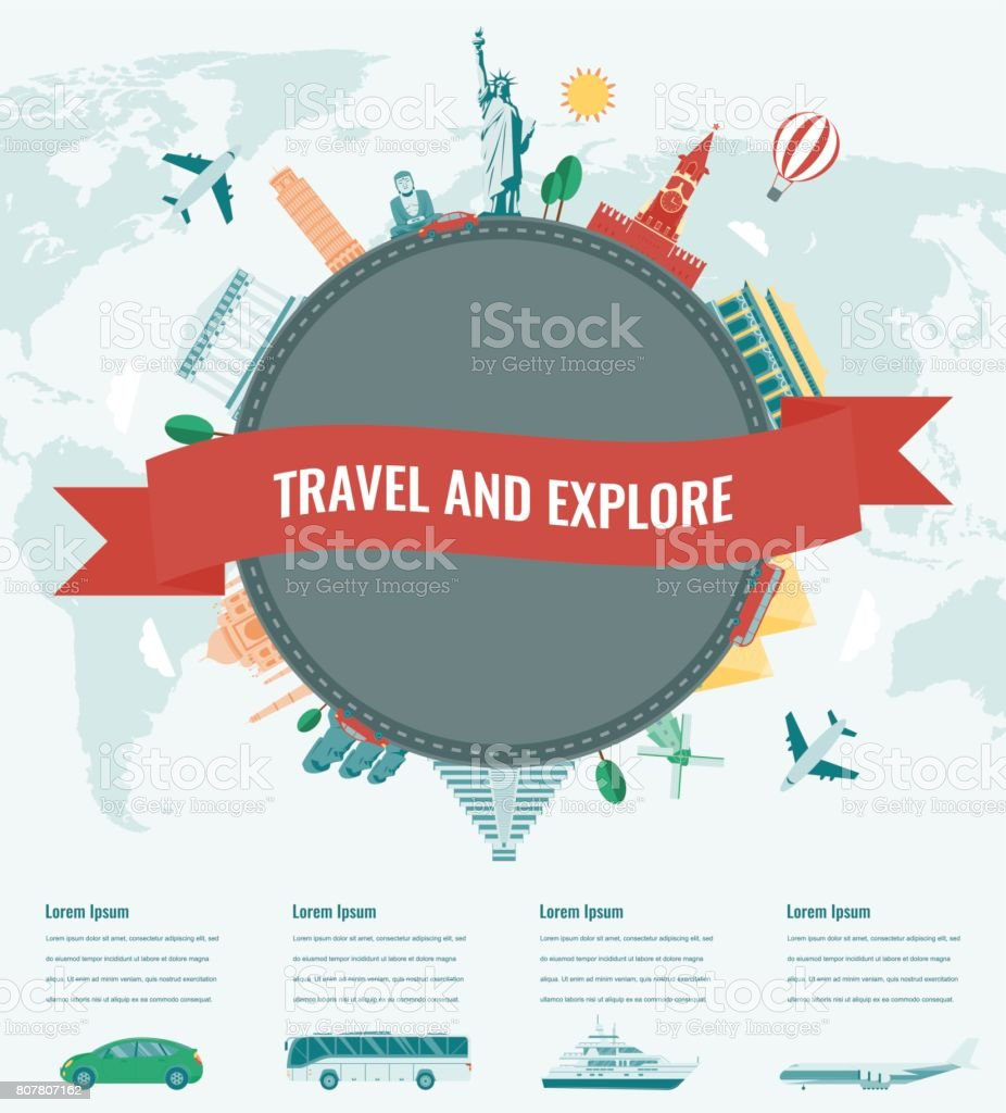 Travel composition with famous world landmarks. Travel and Tourism with transportation infographics. Vector vector art illustration