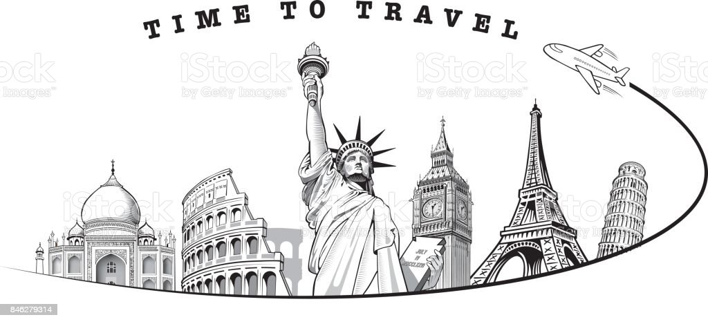 Travel Composition With Famous World Landmarks And Tourism Concept Royalty Free