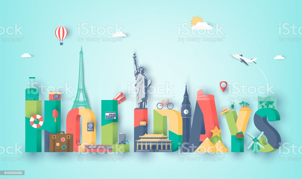 Travel composition with famous world landmarks. Travel and Tourism. Vector vector art illustration