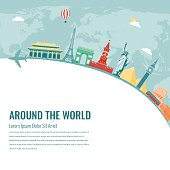 Travel composition with famous world landmarks. Vector illustration