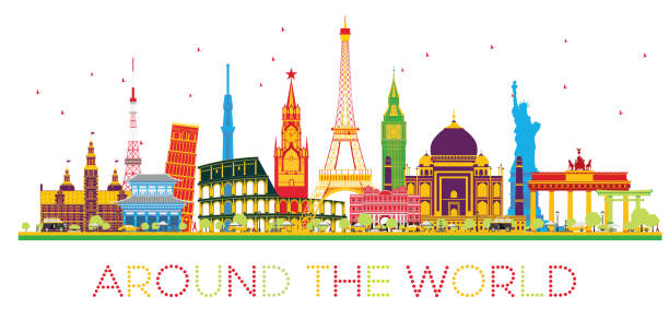 Travel Concept Around The World With Famous International Landmarks Vector Art Illustration