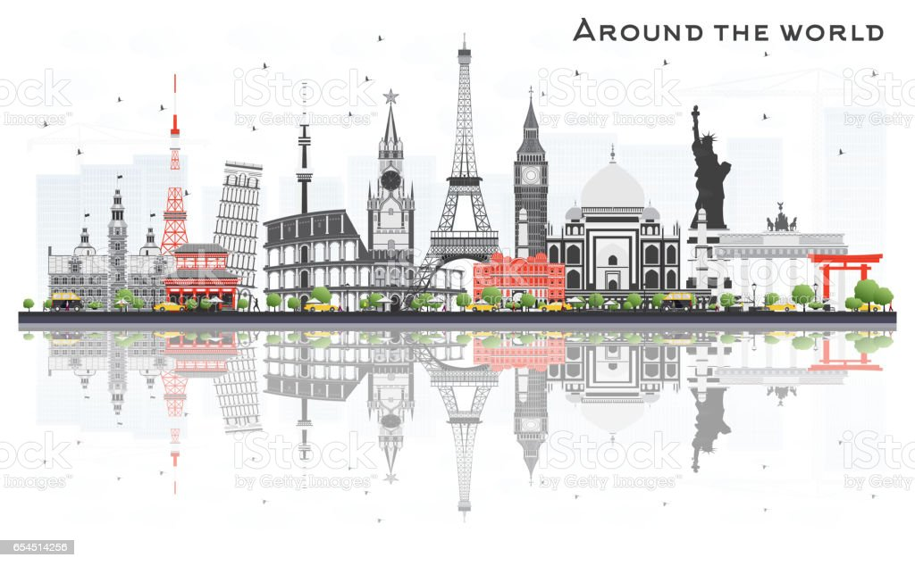 Travel Concept Around the World with Famous International Landmarks. vector art illustration