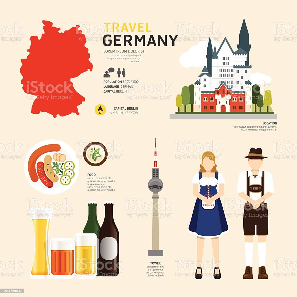 Travel Concept Germany Landmark Flat Icons Design .Vector vector art illustration