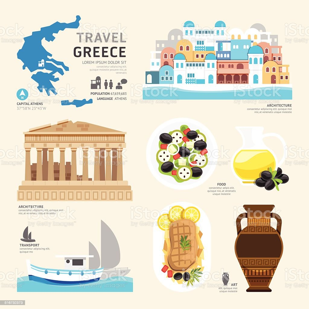 Travel Concept Greece Landmark Flat Icons Design .Vector vector art illustration