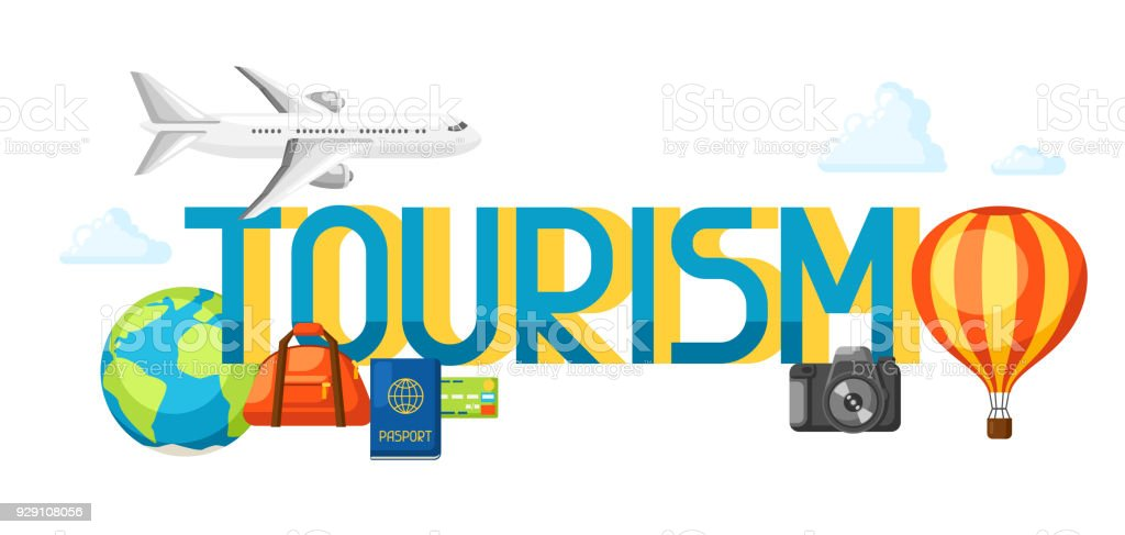 Travel Concept Illustration With Tourist Items And Word Royalty Free