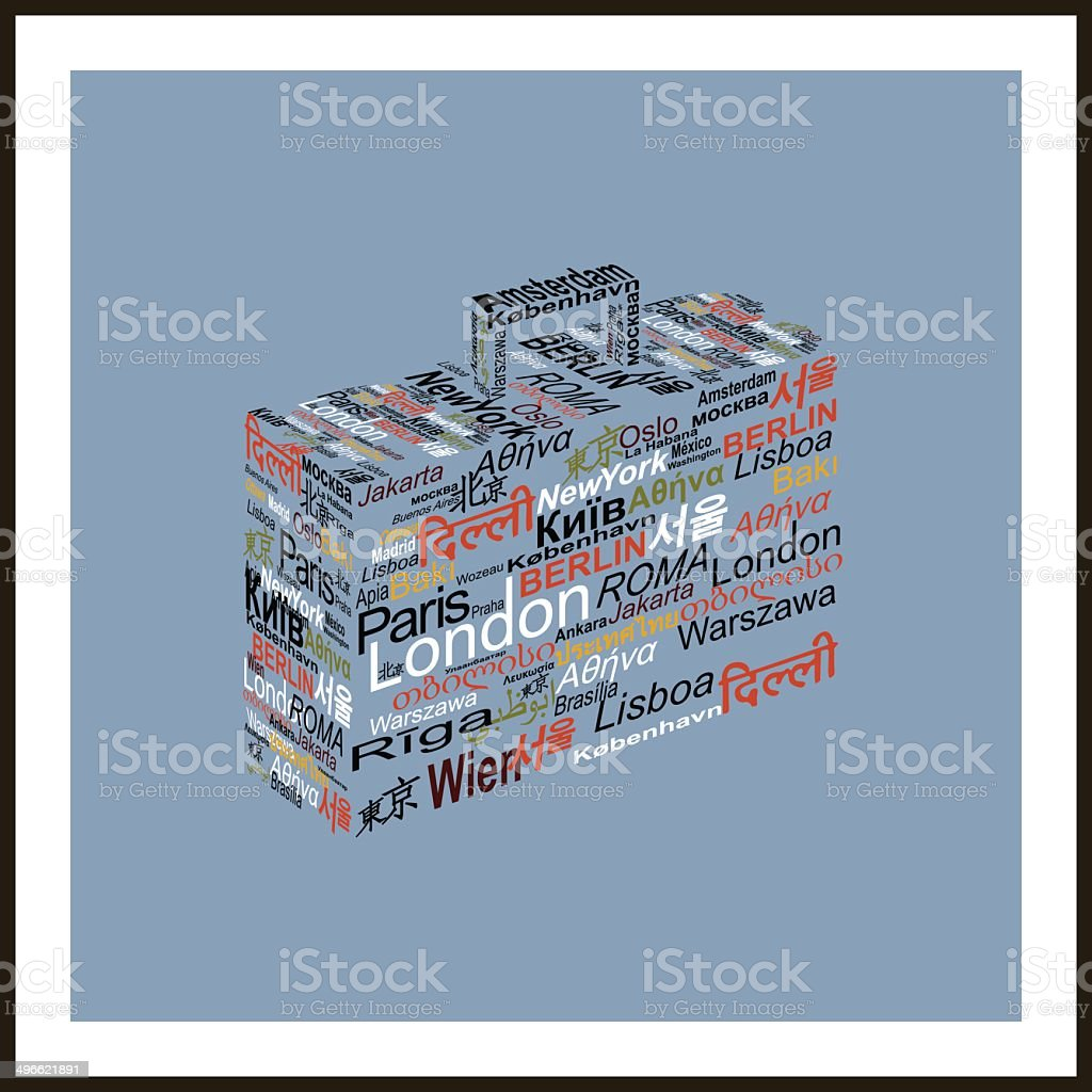 Travel concept made with words world capitals drawing a suitcase vector art illustration
