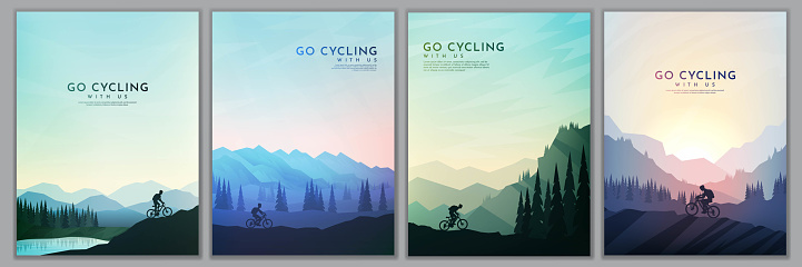 Travel concept of discovering, exploring and observing nature. Mountain bike. Cycling. Adventure tourism. Minimalist graphic poster. Polygonal flat design for book cover, poster, brochure, magazine