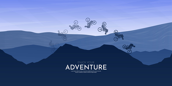 Travel concept of discovering, exploring and observing nature. Mountain bike. Cycling. Adventure tourism. Minimalist vector flat illustration. Sunset scene. Blue background. Freestyle biker