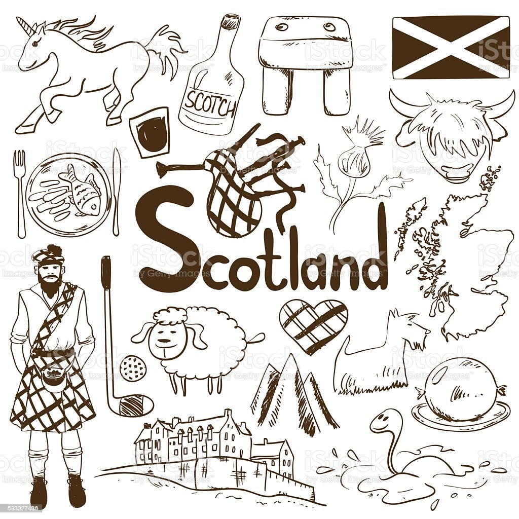 travel concept of scotland symbols stock vector art 593327436 istock