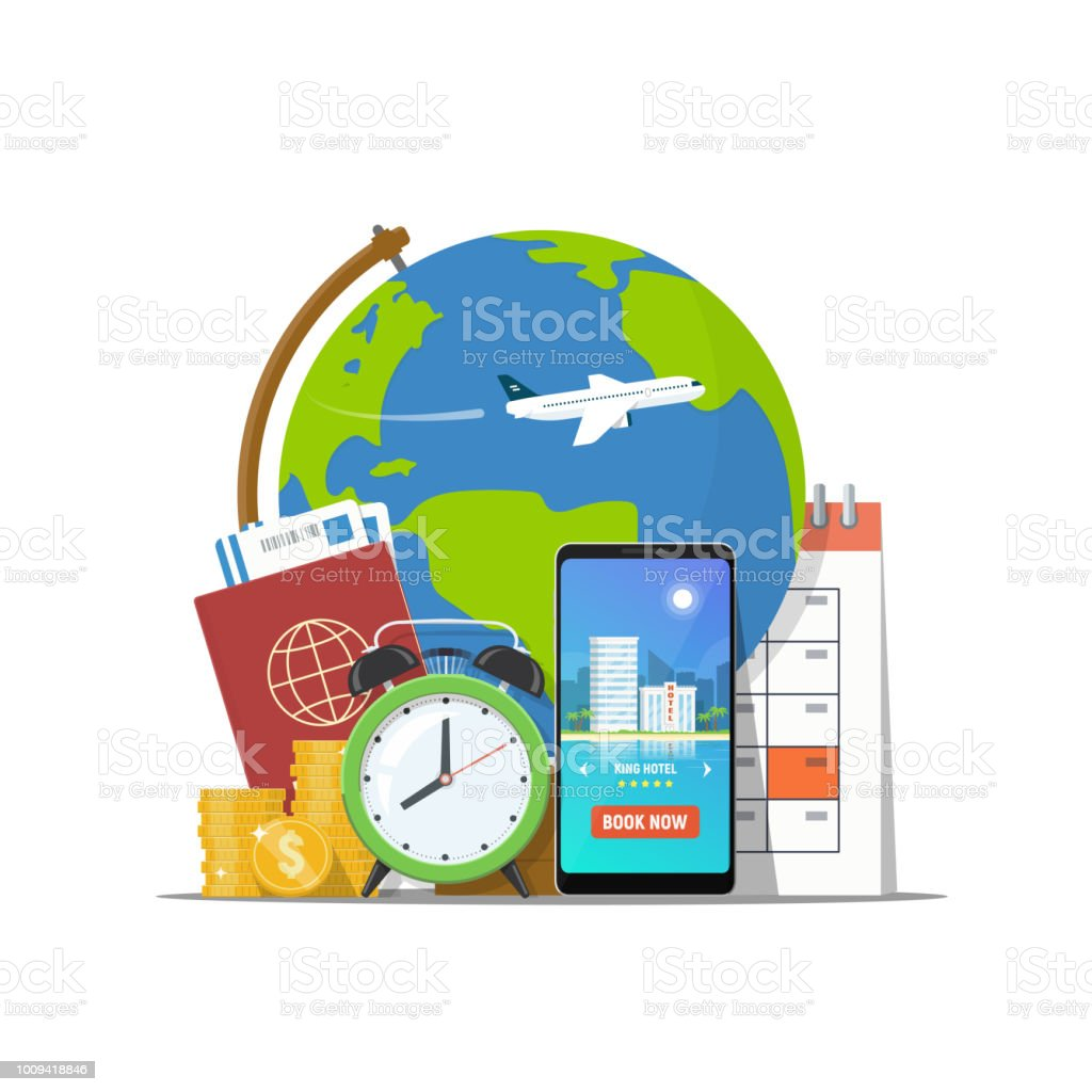 Travel Concept Online Booking Travel Passport Phone With Booking App
