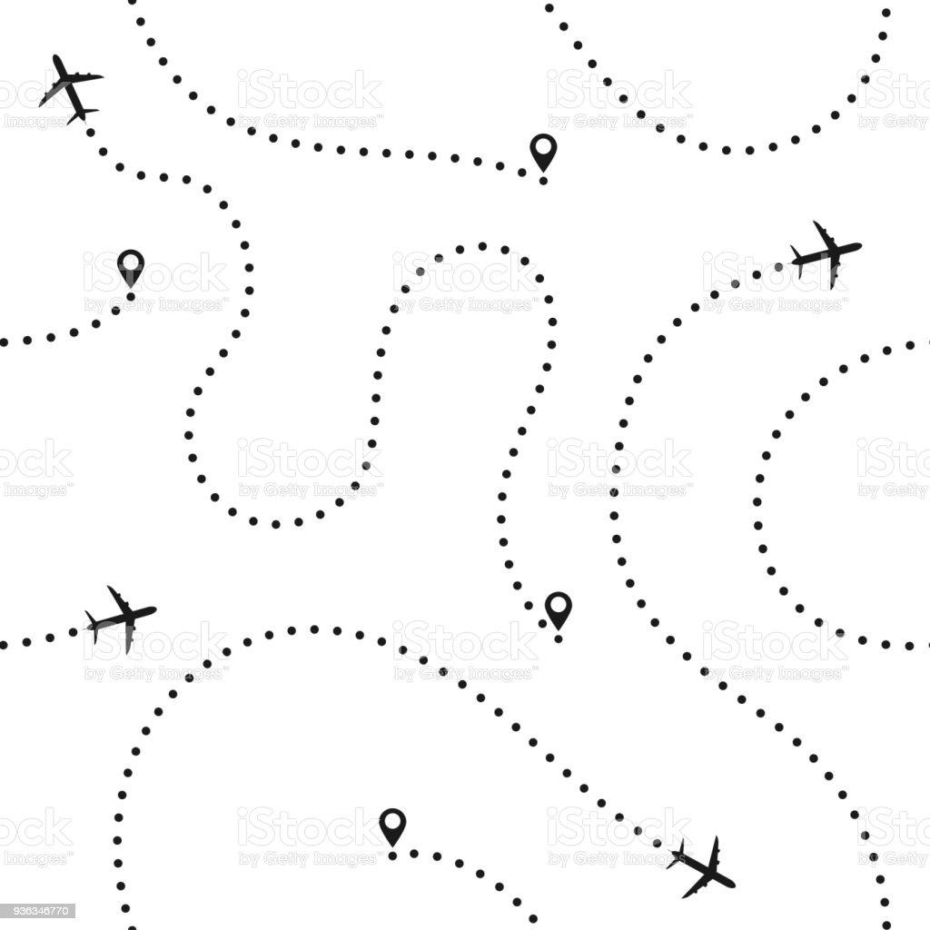 Viajes concepto de patrones sin fisuras. Resumen rutas de avión. Viajes y Turismo fondo transparente con rutas de avión puntos ilustración de viajes concepto de patrones sin fisuras resumen rutas de avión viajes y turismo fondo transparente con rutas de avión puntos y más vectores libres de derechos de abstracto libre de derechos