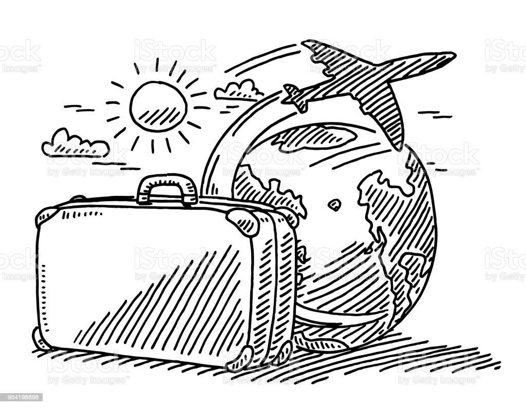 Reisen konzept koffer sun flugzeug zeichnung der erde - Dessin de valise ...