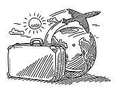 Hand-drawn vector drawing of a Travel Concept with a Suitcase, a Sun, an Airplane and planet Earth. Black-and-White sketch on a transparent background (.eps-file). Included files are EPS (v10) and Hi-Res JPG.