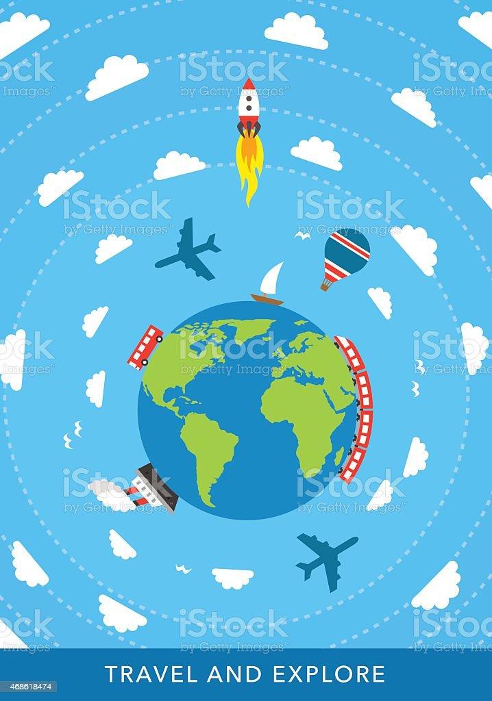 Travel concept vector background vector art illustration