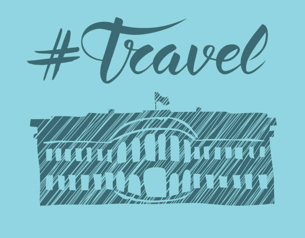 travel concept with monument - white house stock illustrations