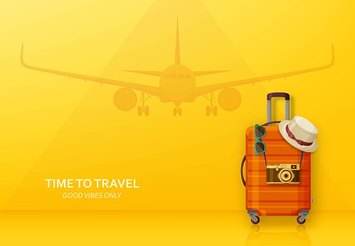 Travel concept with suitcase, sunglasses, hat and camera on blue background. Flying plane at the back. Vector illustration