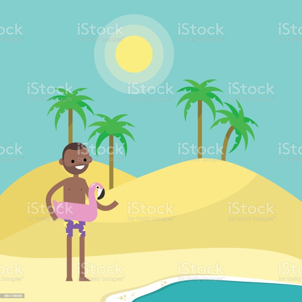 Travel concept. Young black character standing on the sand near by the ocean. Flat editable vector illustration, clip art travel concept young black character standing on the sand near by the ocean flat editable vector illustration clip art - stockowe grafiki wektorowe i więcej obrazów afroamerykanin royalty-free