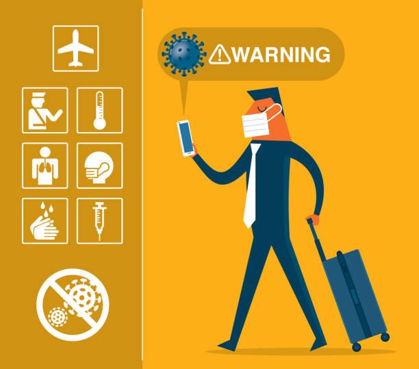 illustrazioni stock, clip art, cartoni animati e icone di tendenza di travel - coronavirus - businessman - businessman covid mask