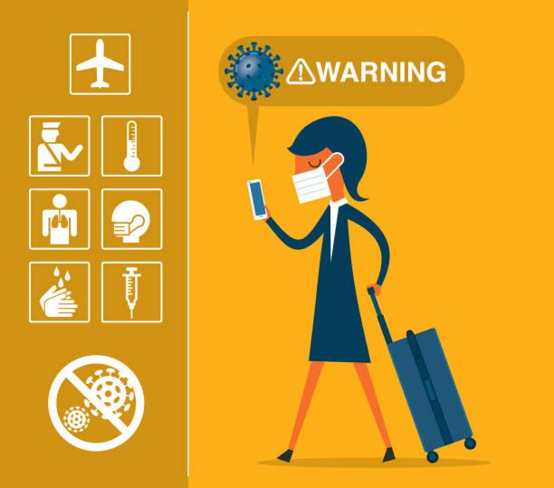 ilustrações de stock, clip art, desenhos animados e ícones de travel - coronavirus - businesswoman - covid flight