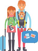 Travel couple vector illustration.