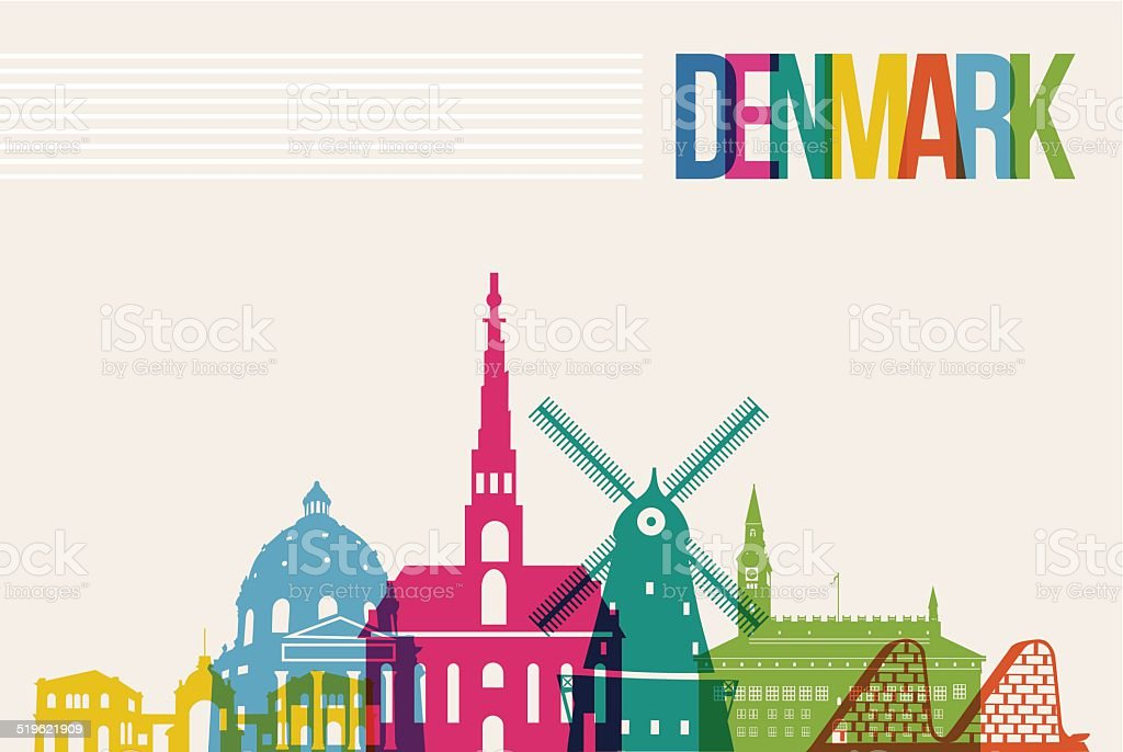 Travel Denmark destination landmarks skyline background vector art illustration