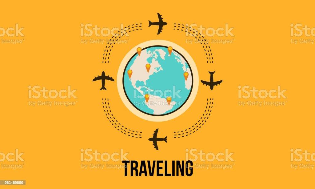 Travel design background with airplane vector art travel design background with airplane vector art — стоковая векторная графика и другие изображения на тему Автомобиль Стоковая фотография