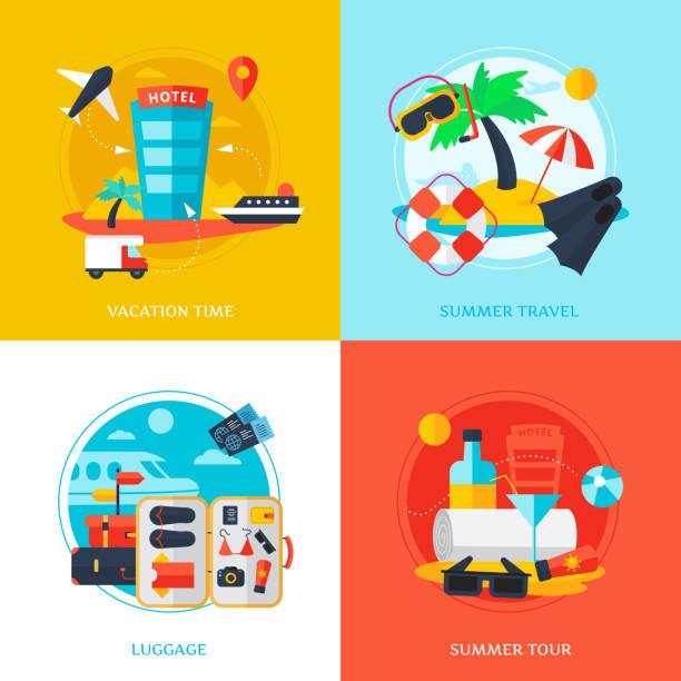 ilustrações de stock, clip art, desenhos animados e ícones de travel design concept - viagens anos 70
