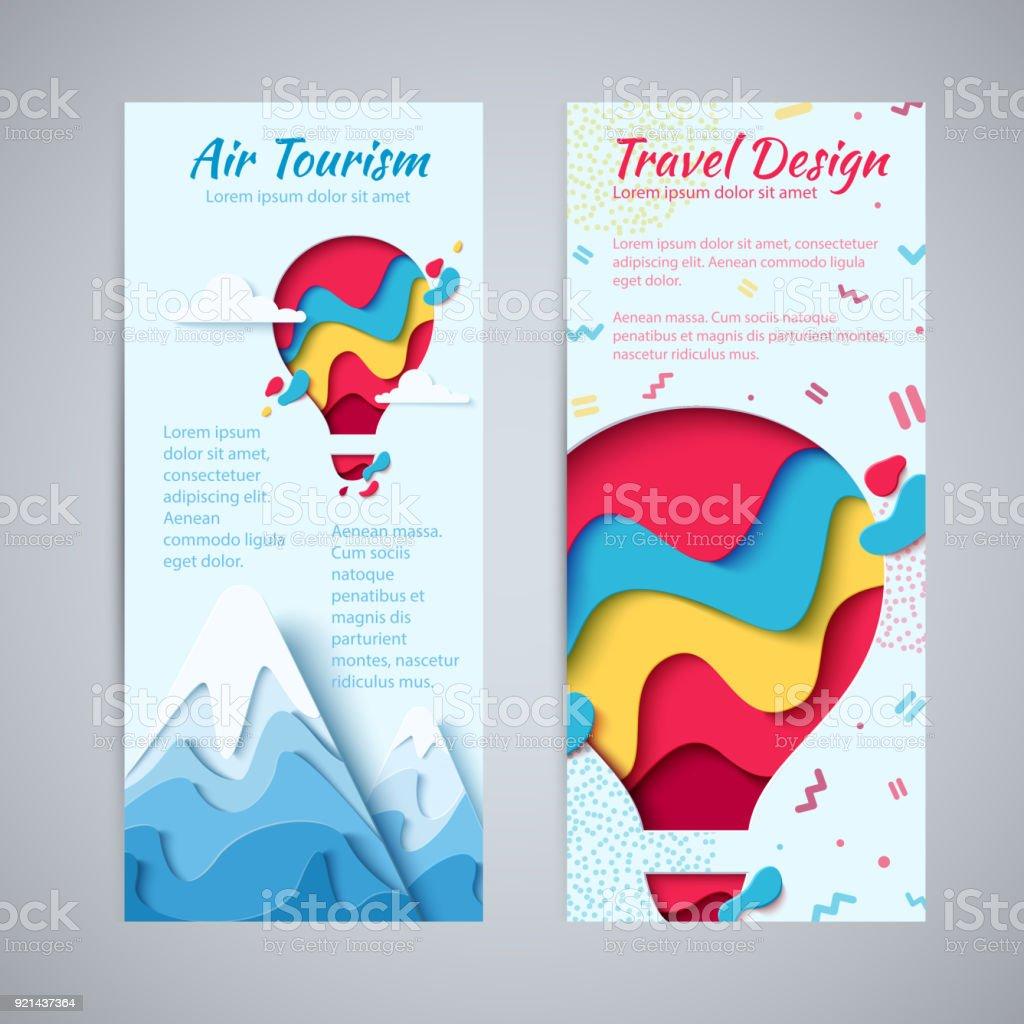 Travel design flyer paper hot air balloon concept vector art illustration