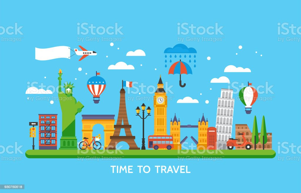 Travel destination concept vector art illustration