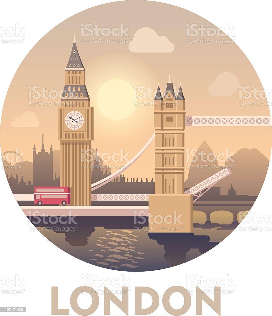 Travel destination London vector art illustration