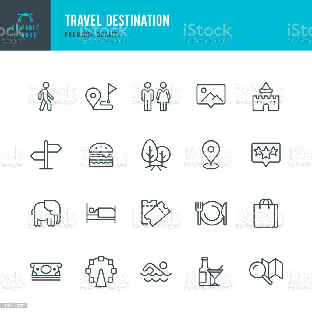 Reiseziel - dünne Linie Vektor-Icons set - Lizenzfrei Ankunft Vektorgrafik