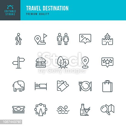 Set of 20 Tourism and Travel Destination thin line vector icons