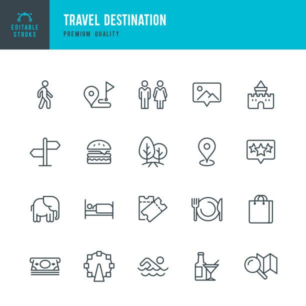 reiseziel - dünne linie vektor-icons set - restaurant stock-grafiken, -clipart, -cartoons und -symbole