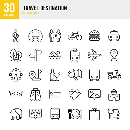 Travel Destination - set of thin line vector icons