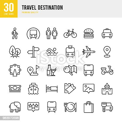 Set of 30 Travel and Tourism Destination thin line vector icons