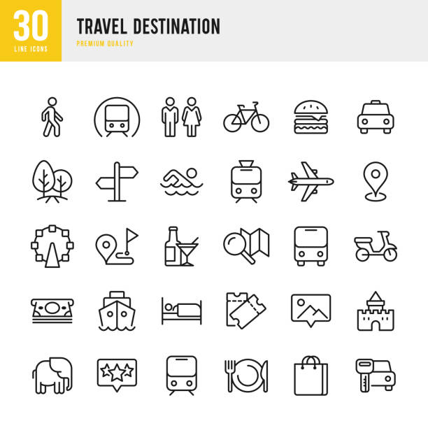 illustrazioni stock, clip art, cartoni animati e icone di tendenza di travel destination - set of thin line vector icons - automotive