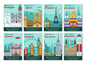 Set of different cities for travel. Landscape template flyer. Landmarks banner in vector. Travel destinations cards. Portugal, Spain, France, Slovenia, England, New York, Shri lanka, Argentina