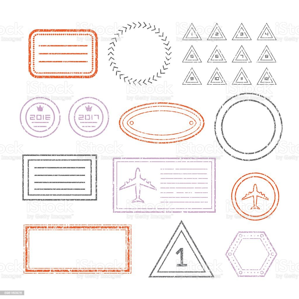 Travel Document And Blank Stamps Set vector art illustration