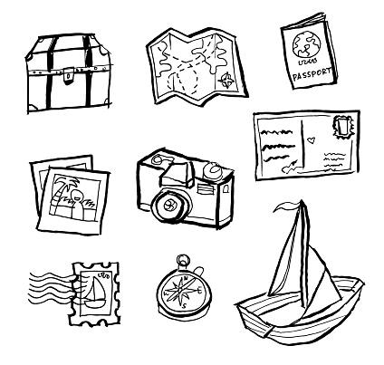 Travel Doodle Zeichnungen Stock Vektor Art und mehr Bilder