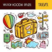Travel Doodles Icon. Vector Illustration Set